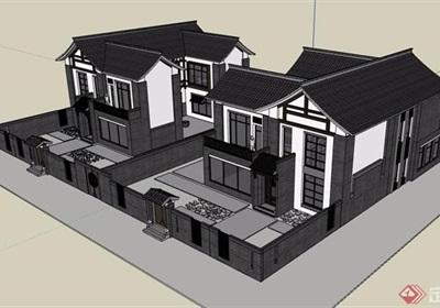 中式風格詳細的完整獨棟住宅別墅設計su模型
