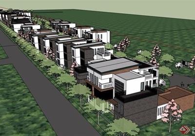 現代風格詳細的完整雙拼住宅別墅設計su模型