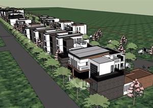 现代风格详细的完整双拼住宅别墅设计SU(草图大师)模型