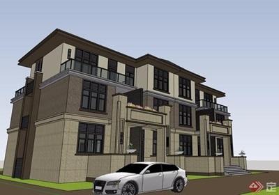 歐式風格詳細的經典完整多層別墅設計su模型