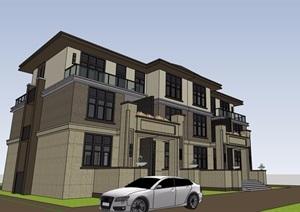 欧式风格详细的经典完整多层别墅设计SU(草图大师)模型