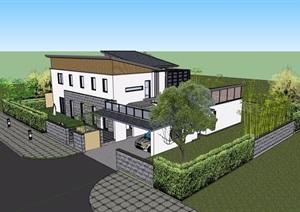 中式风格详细的完整私人住宅别墅设计SU(草图大师)模型