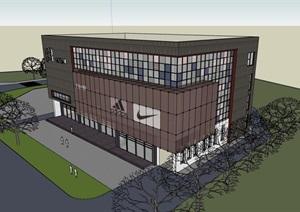 现代风格详细的四层商业中心建筑设计SU(草图大师)模型