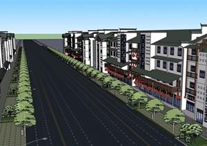 徽派中式风格详细多层商业街建筑设计SU(草图大师)模型