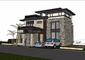 欧式风格详细的经典多层完整别墅SU(草图大师)模型