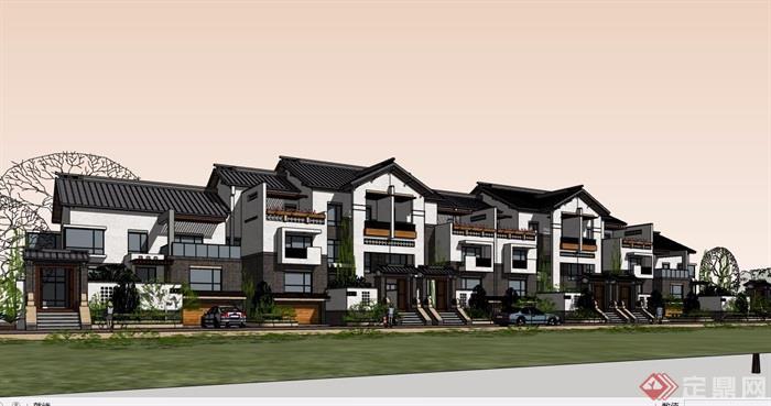中式整体详细的别墅完整风格小区v整体su别墅长江镇如皋市模型图片