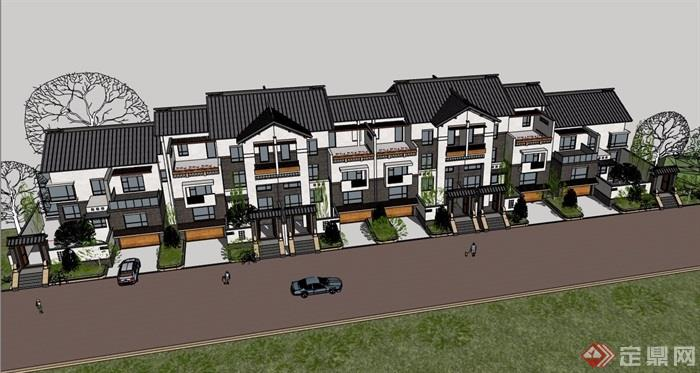 中式整体详细的模型完整别墅风格v整体su别墅小区栋独大庆图片