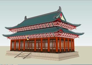 重檐歇山顶古建筑SU(草图大师)模型