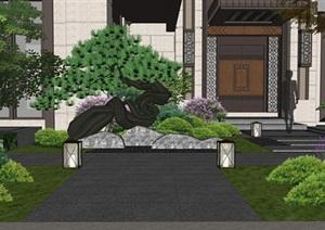 新中式别墅庭院景观设计SU(草图大师)模型4