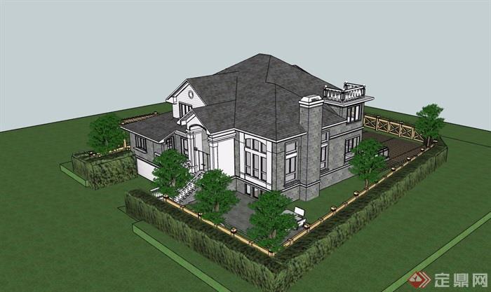 美式风格详细的经典别墅设计su模型
