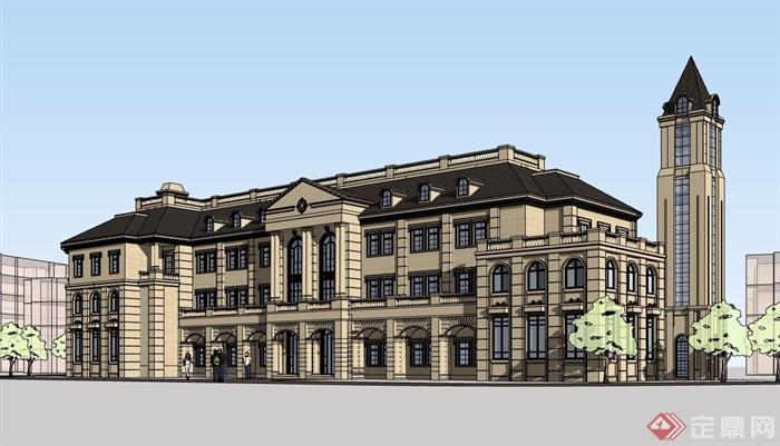 欧式风格详细的三层冰棺酒店建筑设计su模型