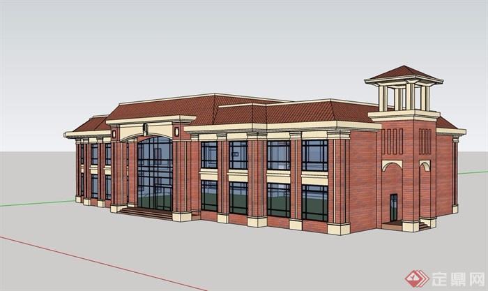 欧式风格详细的两层售楼处建筑设计su模型