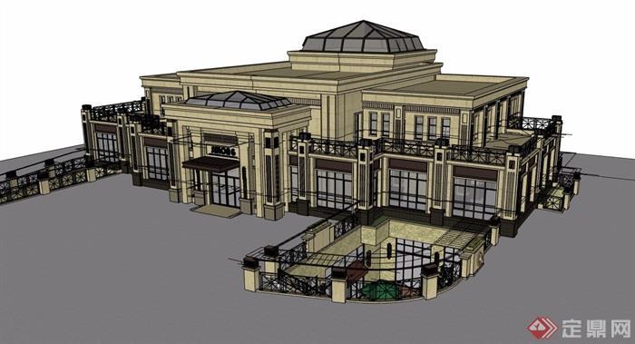 两层详细的欧式风格售楼处建筑设计su模型