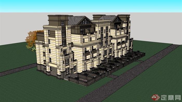 某完整的小区住宅详细别墅建筑设计su别墅迪拜填海模型图片