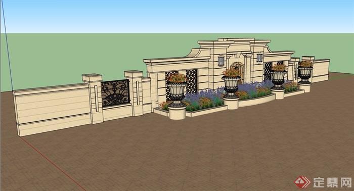 欧式风格详细的完整花池景墙素材设计su模型
