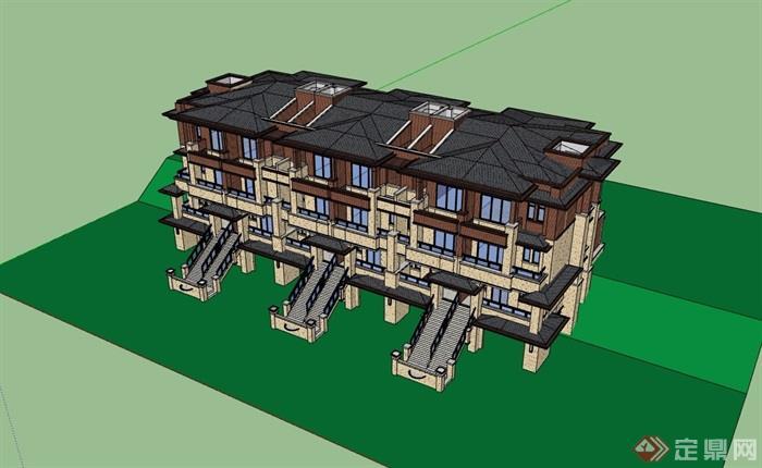 某欧式风格小区欧式住宅多层别墅设计su模型