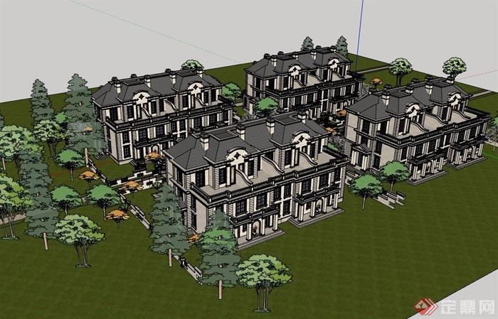 法式风格详细的经典多层住宅别墅设计su模型