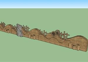 农村特色夯土景观墙SU(草图大师)模型
