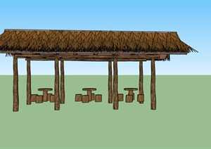 农村茅草廊架座椅SU(草图大师)模型