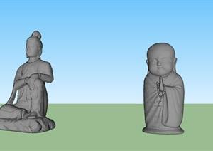 宗教景区佛像雕塑SU(草图大师)模型