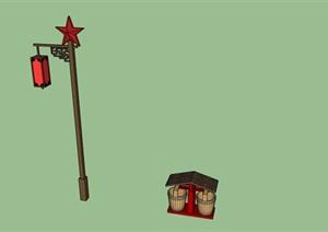 红色革命主题旅游景区路灯垃圾桶SU(草图大师)模型