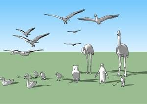 鸟类景观雕塑集合SU(草图大师)模型