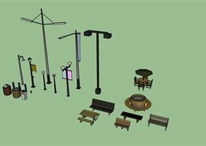 现代风格灯具座椅垃圾桶集合SU(草图大师)模型