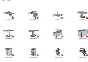 办公桌椅sketch up模型集合