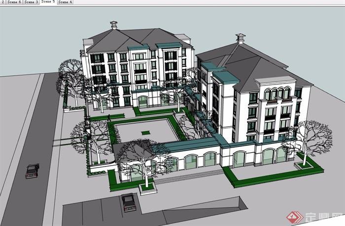 欧式风格详细的办公建筑楼设计su模型