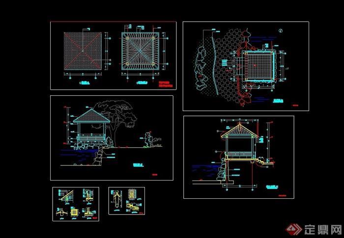 园林景观中式详细的亭子设计cad施工图图片