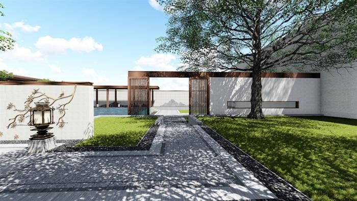 新中式景观庭院设计su模型素材[原创]