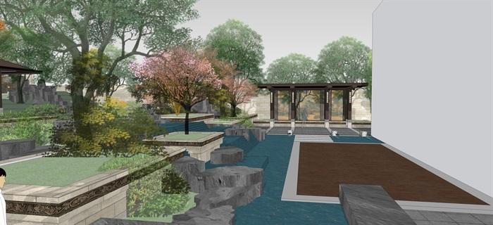 新中式别墅庭院花园景观设计su模型素材[原创]