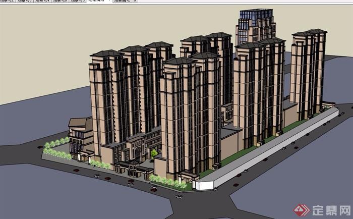欧式详细的商业住宅高层建筑设计su模型
