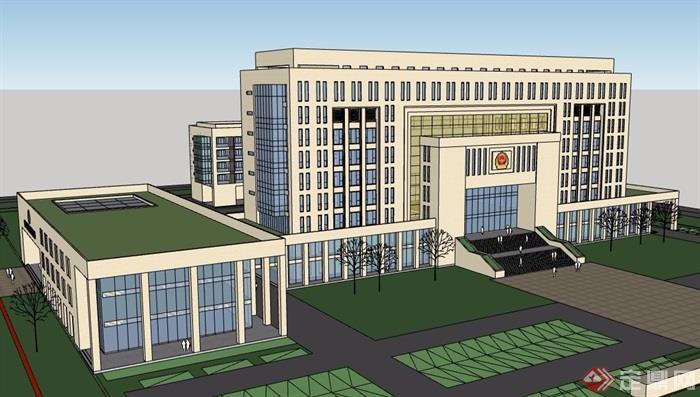 现代风格政府办公楼详细设计su模型