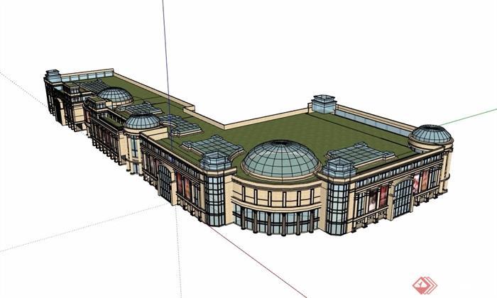 欧式风格商业多层详细建筑设计su模型