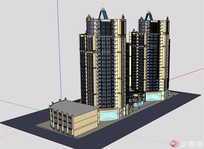 欧式风格商业办公建筑楼详细设计su模型