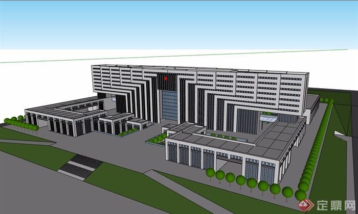 政府办公楼详细完整建筑设计su模型