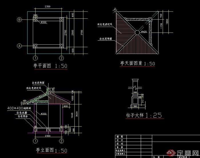 园林景观节点中式亭子设计cad施工图图片