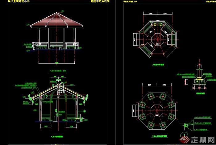 中式详细园林景观节点亭子设计cad施工图图片