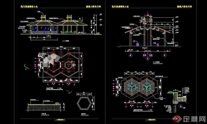 中式风格园林景观节点亭子设计cad施工图图片