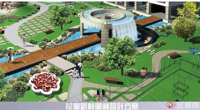 某商住广场空中花园设计cad,3d及效果图