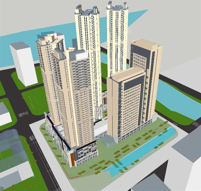 广州绿地广纸高层 商业项目建筑设计方案su模型[原创]图片
