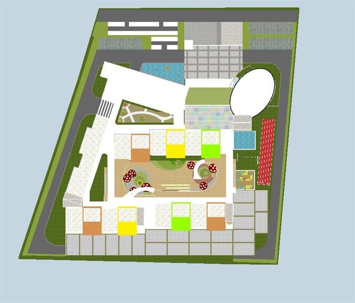 苏州高铁新城幼儿园建筑方案su模型[原创]图片
