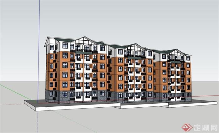 中式风格多层住宅详细建筑设计su模型