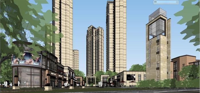 武汉金地格林东郡新古典风格高层住宅 商业项目su模型