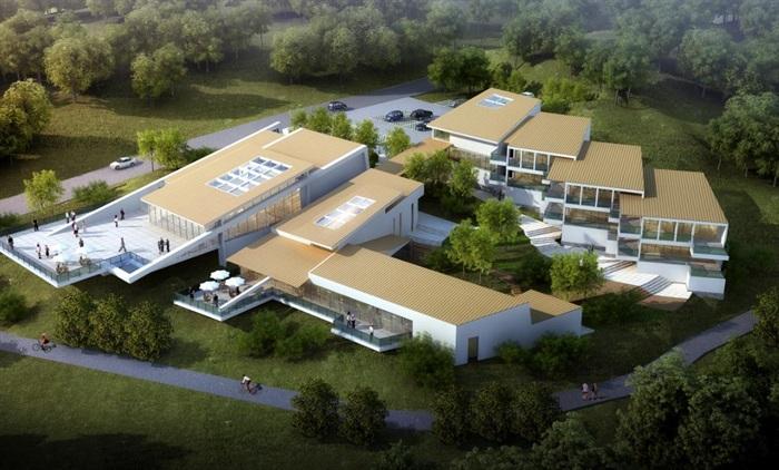 夹关灾后重建规划展览馆建筑设计方案su模型(附cad总平面图+方案jpg图片
