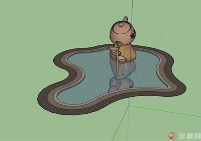 中式风格雕塑水池景观设计su模型