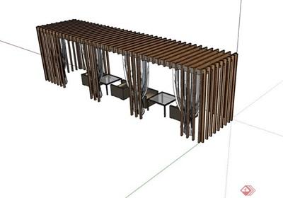 某中式风格廊架节点素材设计su模型