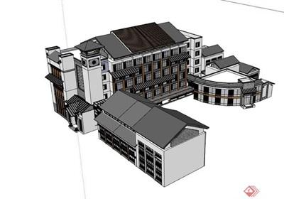 中式风格详细的住宅建筑素材设计su模型