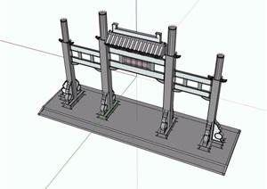 中式详细的牌坊素材设计SU(草图大师)模型